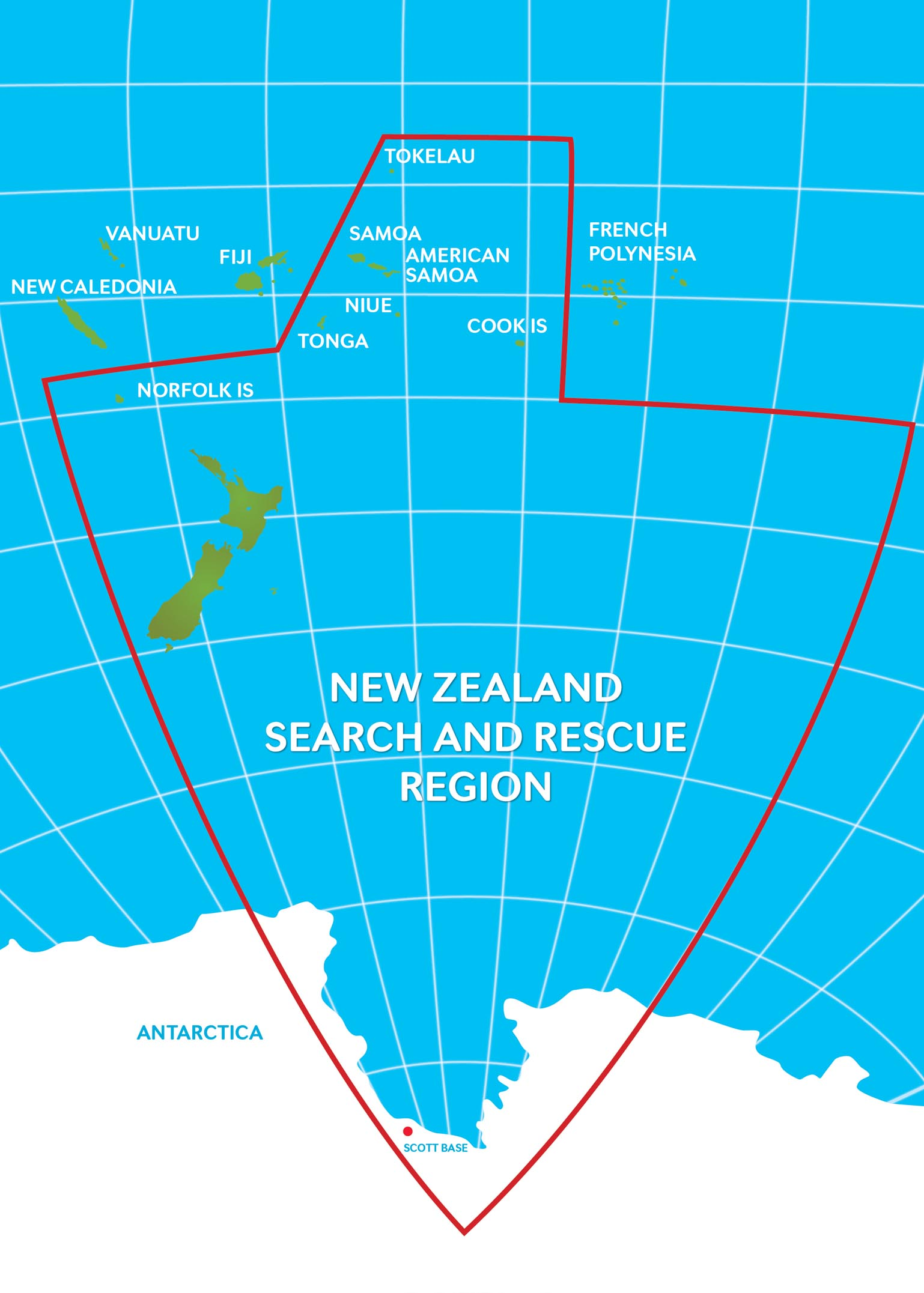 RCCNZ's search and rescue area extends from the mid-Tasman Sea, halfway to Chile, and from the South Pole, almost up to the Equator.