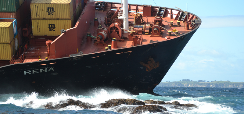 Rena was carrying 1,368 containers and 1,733 tonnes of heavy fuel oil when it struck the Astrolabe Reef and grounded.