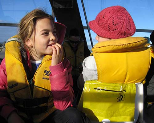 Children should have their own lifejackets.