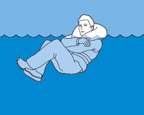 If you are alone in the water, draw your arms and legs close to your body.