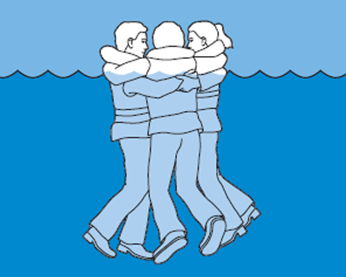 If there are others in the water around you, form a circle and huddle as a group.